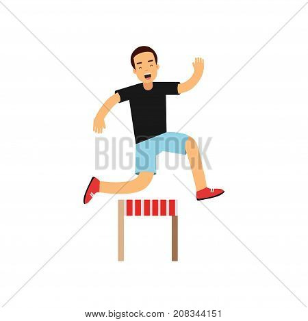 Active teen boy jumping hurdle, boy doing sport, active lifestyle vector Illustration on a white background vector Illustration isolated on a white background
