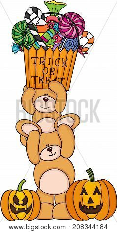 Scalable vectorial image representing a Halloween teddy bears, isolated on white.