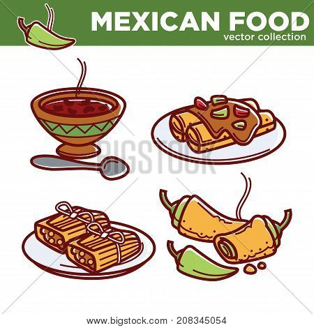Mexican food cuisine traditional dishes of fajitas, burrito, enchilada or quesadilla and guacamole soup, salsa sauce and spicy chili pepper garnish. Vector isolated icons for Mexico restaurant menu