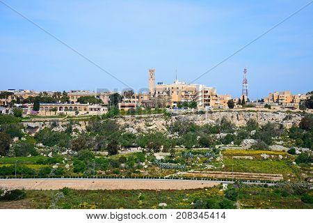 IMTARFA, MALTA - APRIL 1, 2017 - View of the town and surrounding countryside during the Springtime Imtarfa Malta Europe, April 1, 2017.
