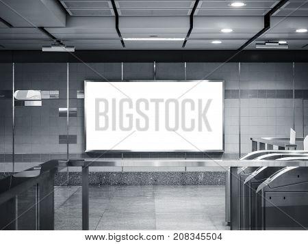 Mock up Banner signage Billboard media display in subway station