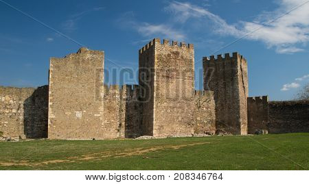 Walls and towers of Ancient Smederevo fortress in Serbia