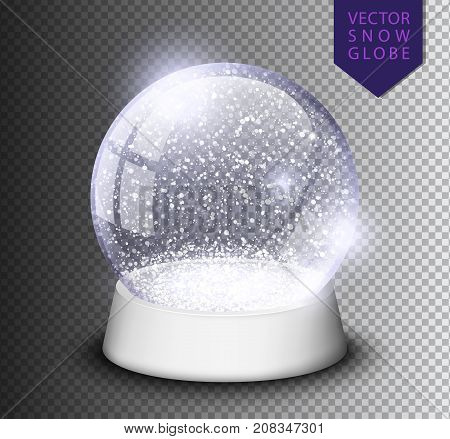 Snow Globe Isolated Template Empty On Transparent Background. Christmas Magic Ball. Realistic Xmas S