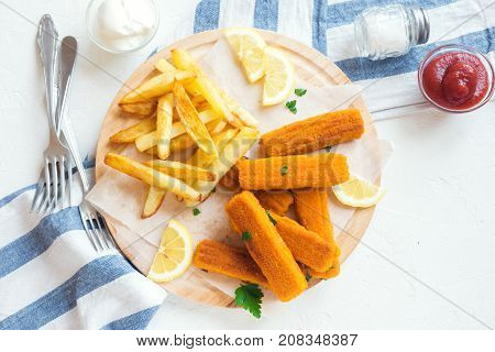 Fried Fish Sticks With French Fries