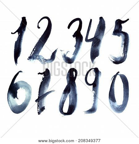 Hand drawn set with dark blue numbers writing in freehand style. Grainy digits from 1 to 9 and zero.