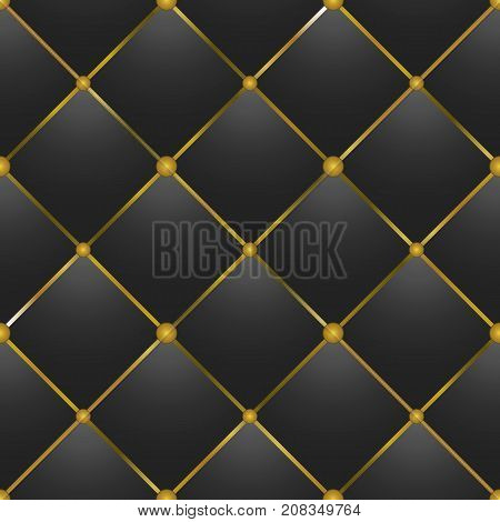 button tufted black leather modern vector background