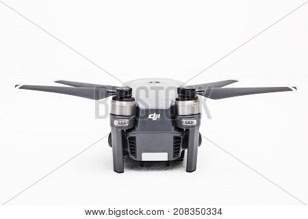 DJI Mavic Pro drone: ISRAEL, OCTOBER 2, 2017. Closeup, on white background. One of the most portable drones in the market, with 4k ultra hd.