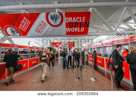 SAN FRANCISCO CA USA - OCT 4 2011: Registration desk in Moscone South convention center on the eve of opening of Oracle OpenWorld conference on Oct 4 2011 in San Francisco CA.