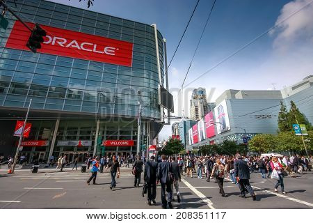 SAN FRANCISCO CA USA - OCT 4 2011: Attendees of Oracle Open World conference go to Moscone Center West on Oct 4 2011 in San Francisco CA USA.