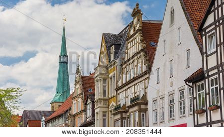Panorama Of Colorful Historic Facades In The Center Of Hameln