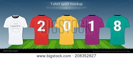 T-shirt sport mockup for 2018 happy new year concept with soccer playing field background, Both front and back shots available and easily modify photo file to add logo into your shirt ( Vector EPS10 )