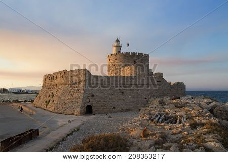 Fortress of St. Nicholas in Rhodes Greece
