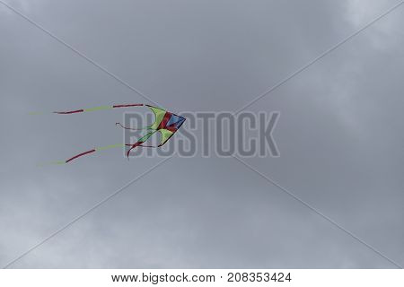 Flying Dragon Toy In A Windy Sky