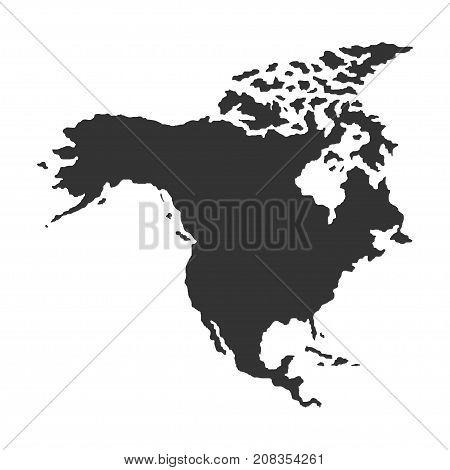 Territory of North America. Dark background. Vector illustration