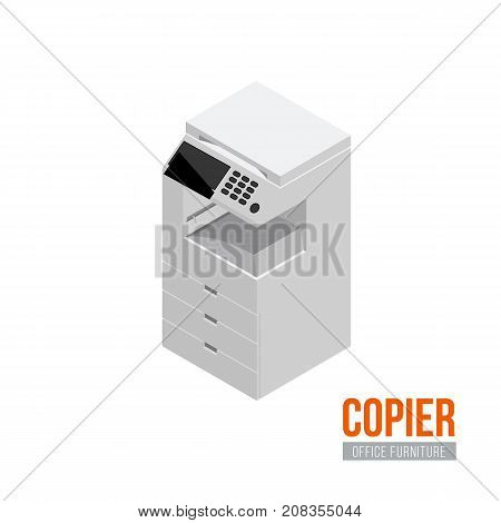 Isometric copier. Vector office furniture and equipment