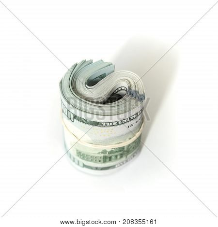 Roll Of One Hundred Dollars Stands Isolated
