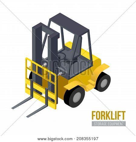 Isometric forklift. Vector storage equipment. Warehouse machine.
