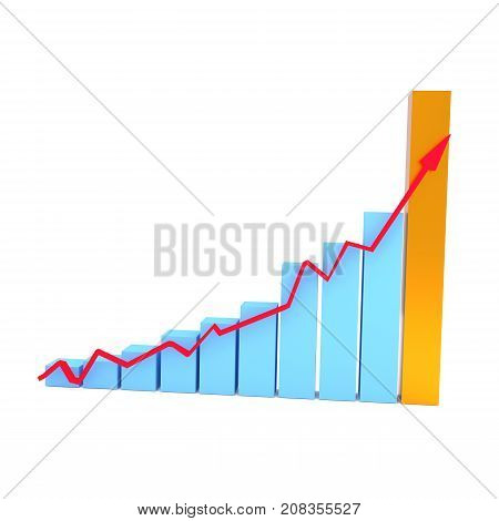Business graph in blue and gold with an upswing arrow success concept 3d rendering