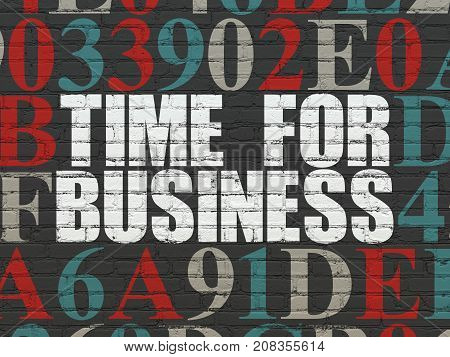 Time concept: Painted white text Time for Business on Black Brick wall background with Hexadecimal Code