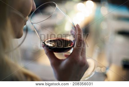 women with red wine