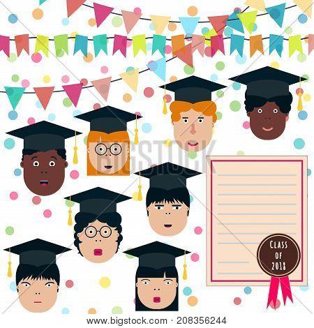 Graduation class party. Children students. School Boys and Girls vector illustration. Graduation students vector set