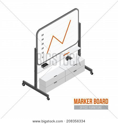 Isometric marker board. Vector office furniture and equipment