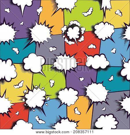 Comics book dialog empty cloud pattern, space cartoon box pop-art. Pattern with template memphis style text speech bubble on neon, lilac background. Creative idea conversation, vector.