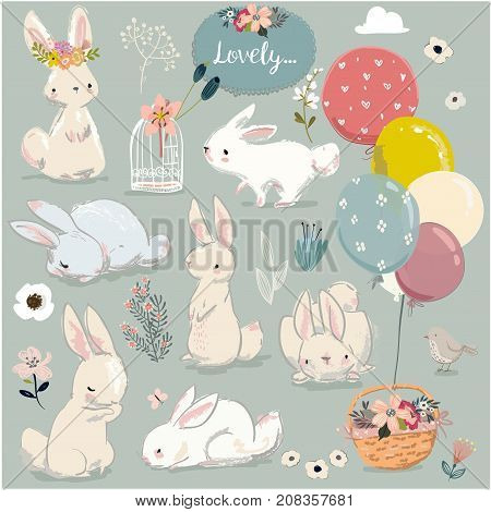 cute little hares with balloons. vector collection