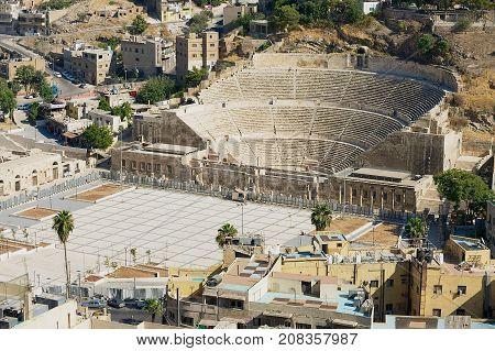 AMMAN, JORDAN - AUGUST 18, 2012: View to the ancient Roman theatre in Amman, Jordan.