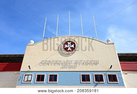 ATTARD, MALTA - APRIL 1, 2017 - Front view of the Centenary Stadium Attard Malta Europe, Arpil 1, 2017.