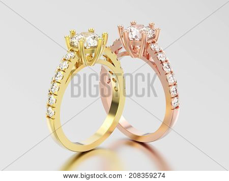 3D illustration two rose and yellow gold solitaire engagement diamond ring with shadow and reflection on a grey background