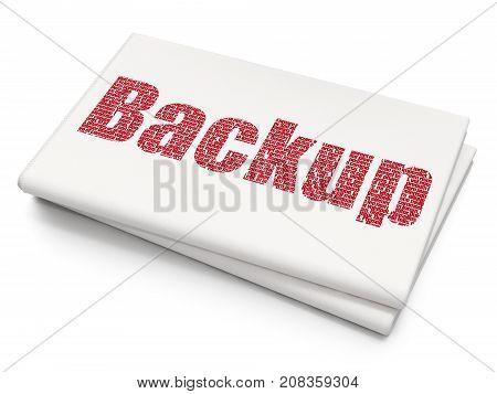 Database concept: Pixelated red text Backup on Blank Newspaper background, 3D rendering