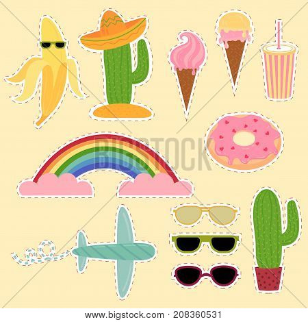 Set of Mexico and travel stickers. Travel flat vector illustrations. Collection icons of cactus, sombrero, icecream, sunglasses and more
