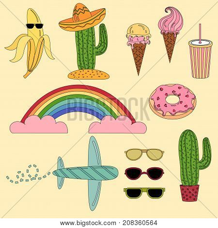 Set of Mexico and travel illustrations. Travel flat vector illustrations. Collection icons of cactus, sombrero, icecream, sunglasses and more