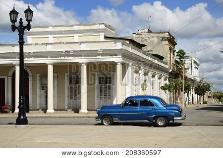 CIENFUEGOS CUBA - 06 NOVEMBER 2016: Colonial building development by the main promenade on the old town in Cienfuegos on Cuba.