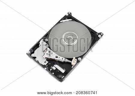 Inside of computer hard disk drive close up HDD isolated on white background