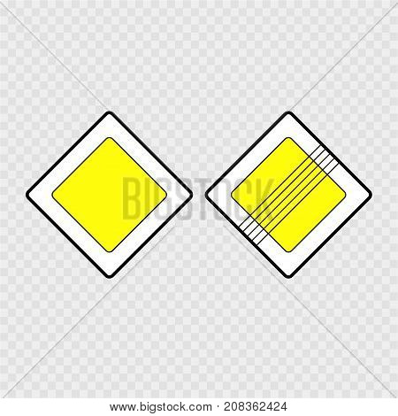 Road Sign, Main Road On A Grey Background