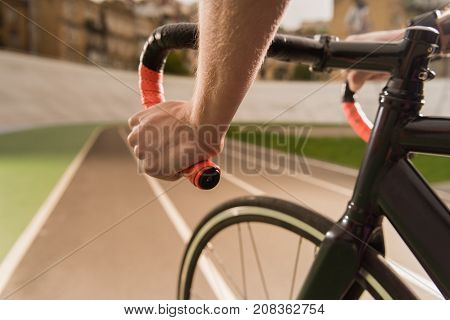Cyclist Riding Bicycle During Race