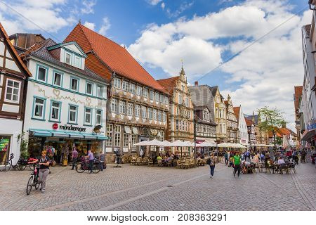 HAMELN, GERMANY - MAY 22, 2017: Shopping street with historic buildings in Hameln, Germany