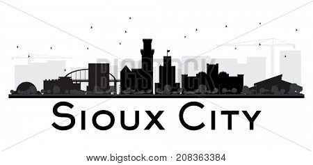 Sioux City skyline black and white silhouette.