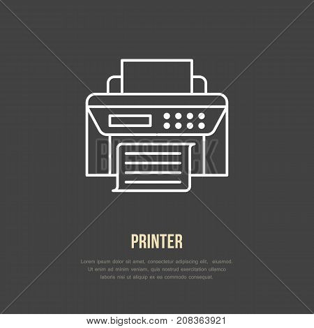 Printer with paper page flat line icon. Wireless technology, office equipment sign. Vector illustration of communication devices for electronics store.