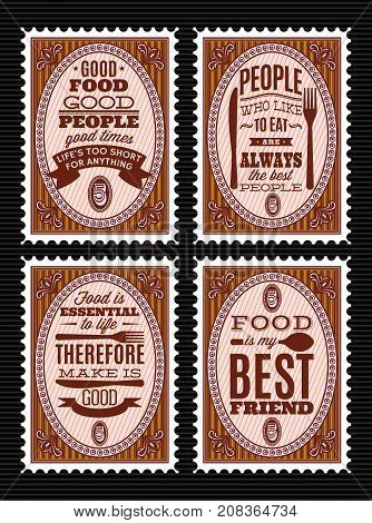 set of vector postage stamps with citations on food theme.