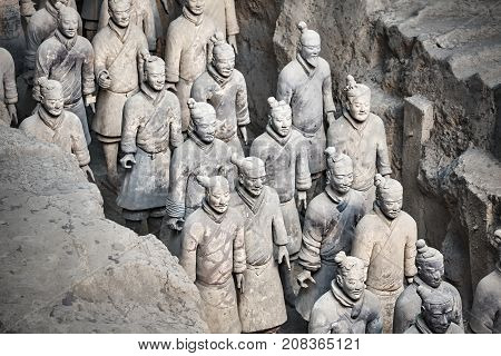 Xian, China - October 4, 2017: Terracotta Army Warriors. Discovered In 1974 Three Pits Contain More