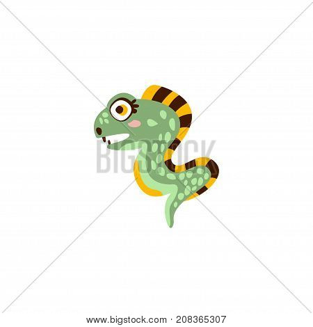 Cute eel fish, funny sea creature hand drawn vector Illustration isolated on a white background