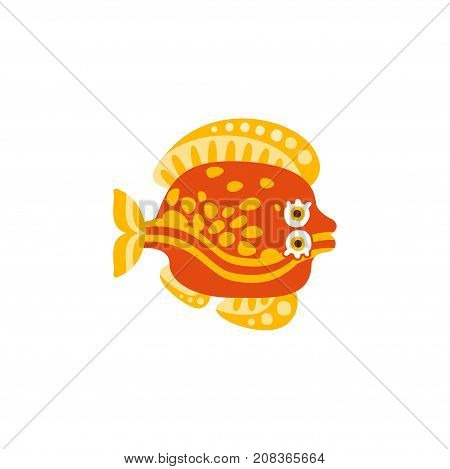 Cute flounder fish hand drawn vector Illustration isolated on a white background