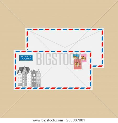 Air mail envelope with Old Town Cologne Germany, stamps and postmarks