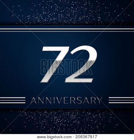 Realistic Seventy two Years Anniversary Celebration Logotype. Silver numbers and silver confetti on blue background. Colorful Vector template elements for your birthday party