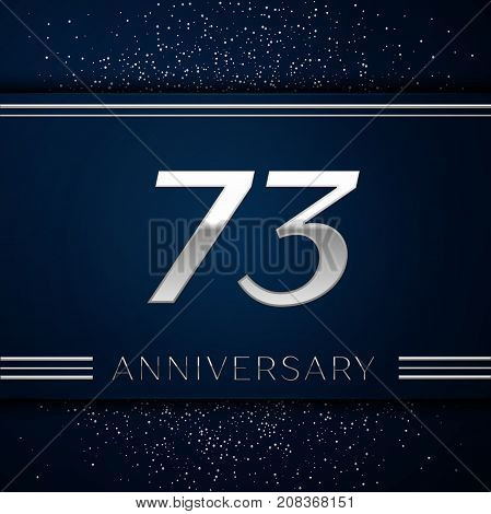 Realistic Seventy three Years Anniversary Celebration Logotype. Silver numbers and silver confetti on blue background. Colorful Vector template elements for your birthday party