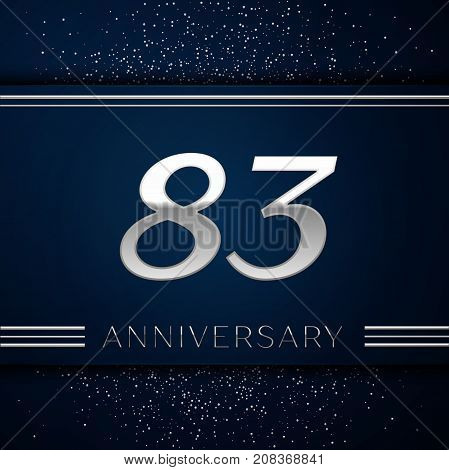 Realistic Eighty three Years Anniversary Celebration Logotype. Silver numbers and silver confetti on blue background. Colorful Vector template elements for your birthday party