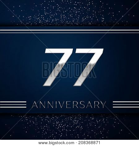Realistic Seventy seven Years Anniversary Celebration Logotype. Silver numbers and silver confetti on blue background. Colorful Vector template elements for your birthday party